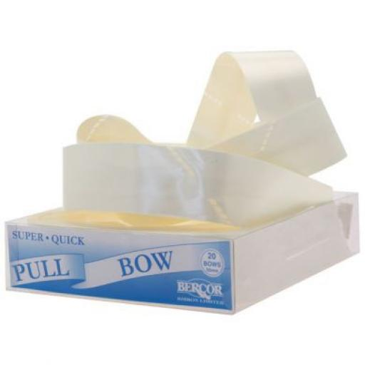 20 Ivory Flora Charm Pull Bows (50mm)