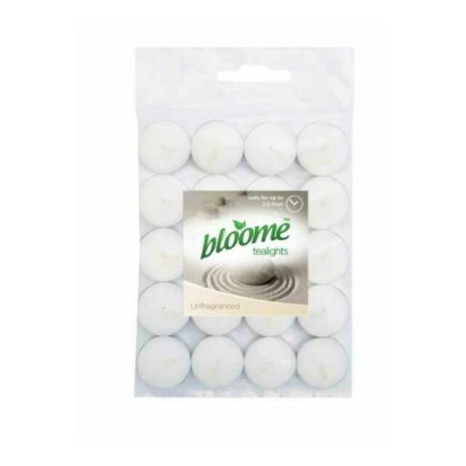 Bloome Unfragranced Decorative White Tea Lights - Pack of 20