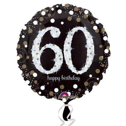 "18"" Gold Sparkling Celebration 60th Birthday Standard Foil Balloons"
