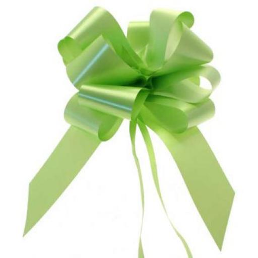 20 Lime Green Pull Bows (50mm)