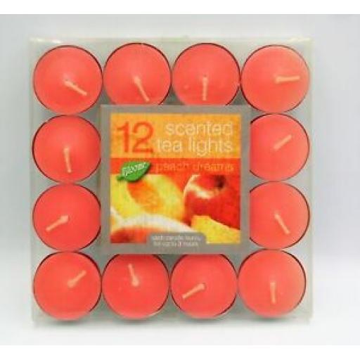 12 Tea Lights Fragranced Peach