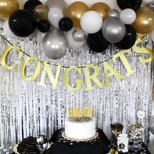 Congrats Gold Glitter Sign 3.65m