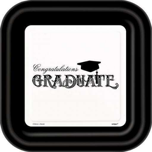 "Graduation Plates Square 8pk 8.5"""