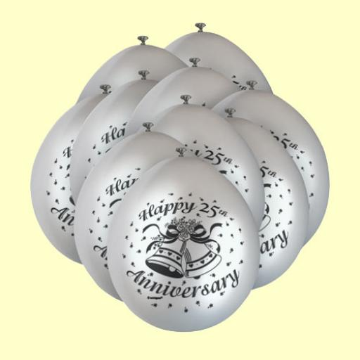 25th Anniversary Silver Latex Balloon 11""