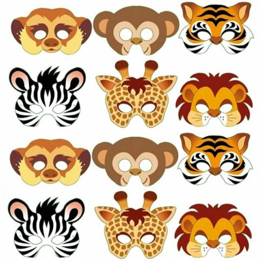 12 Card Jungle Animal Face Masks