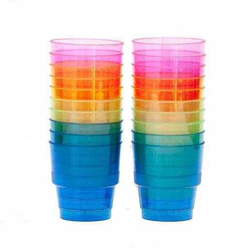 Hard Plastic Party Cups In Rainbow Colours 20pc/240ml