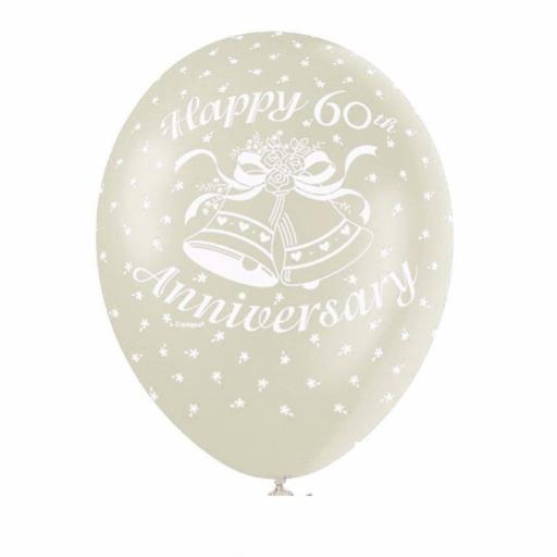 60th Anniversary Pearl Ivory Latex Balloon 11""