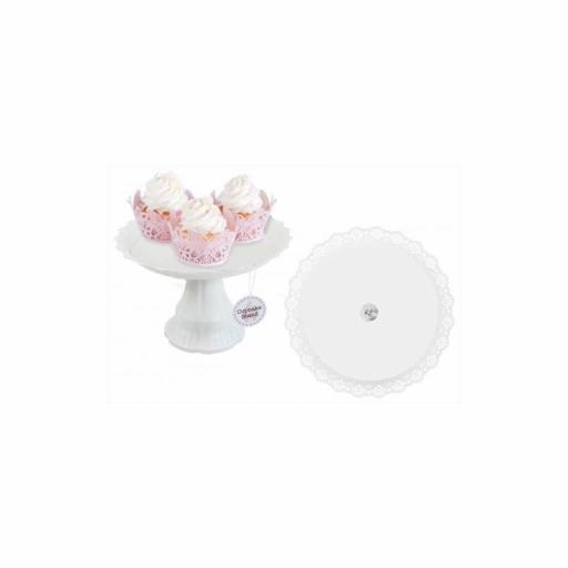 White Cup Cake Stand 8""