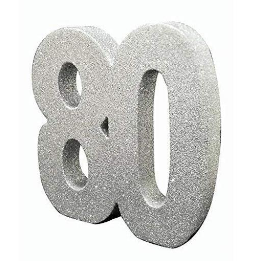 Silver Glitter Number 80 Table Decoration