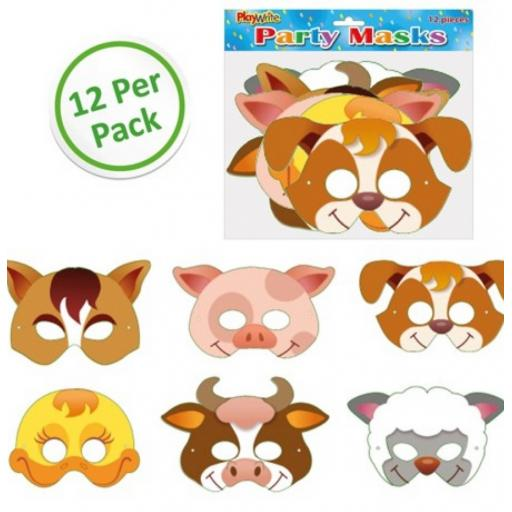 12 Cards Farm Animal Masks