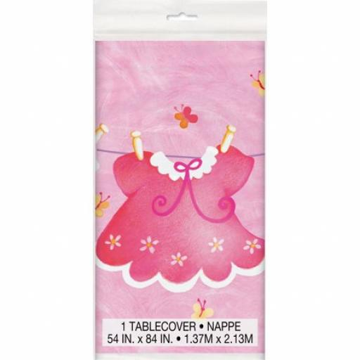 """Pink Clothesline Baby Shower Plastic Tablecloth, 84"""" x 54"""""""
