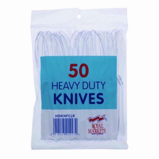 50 Heavy Duty Clear Plastic Knives