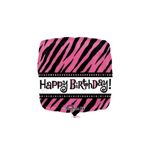 18″ Pink Zebra Print Birthday Foil Balloon