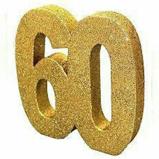 Gold Glitter Number 60 Table Decoration