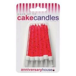 12 Anniversary House Candles Glitter Red