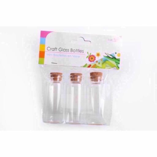 3 Mini Sil Craft Glass Bottles - 7cm