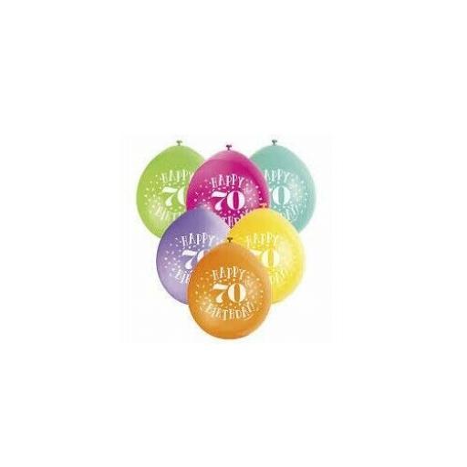 "Happy 70th Birthday Anniversary Assorted Colour Latex Balloon 9"""