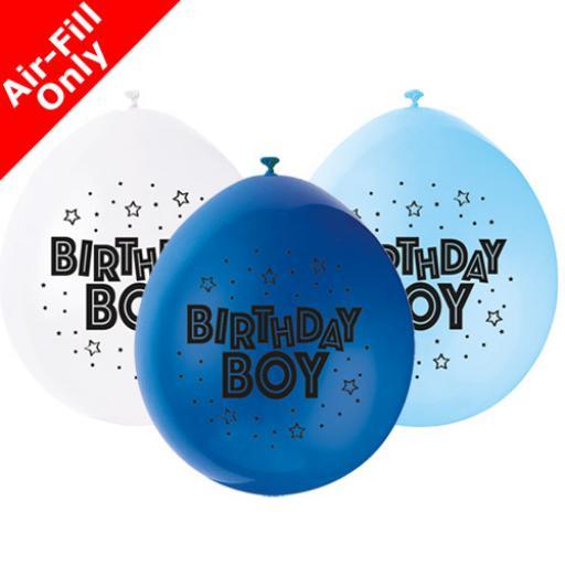 "Happy Birthday Boy Anniversary Assorted Colour Latex Balloon 9"""