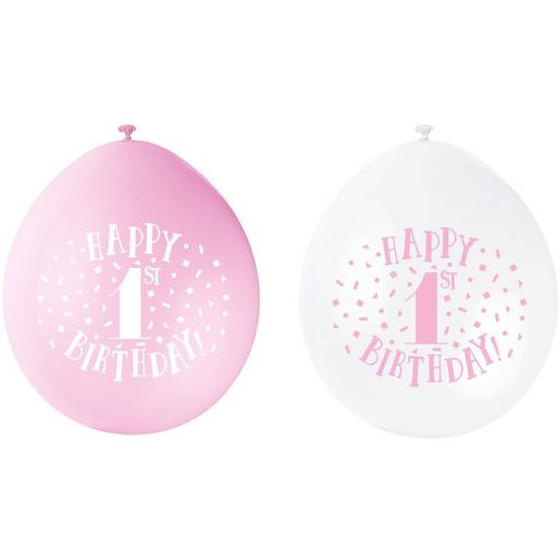 "Happy 1st Girl Birthday Anniversary Assorted Colour Latex Balloon 9"""