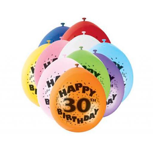 "Happy 30th Birthday Anniversary Assorted Colour Latex Balloon 9"""