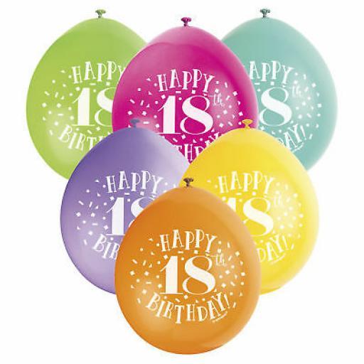 "Happy 18th Birthday Anniversary Assorted Colour Latex Balloon 9"""