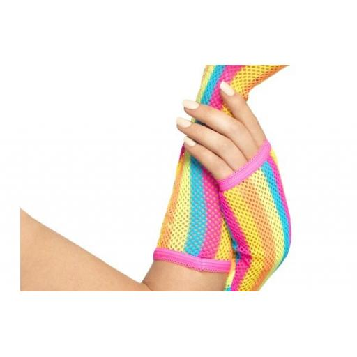 Neon Striped Fishnet Gloves