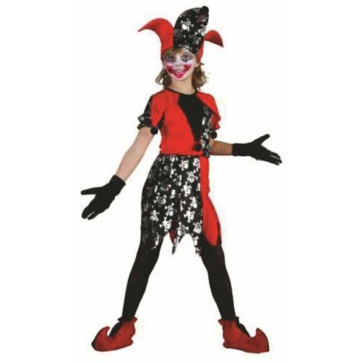 Girls Court Jester Medieval Clown Fancy Dress