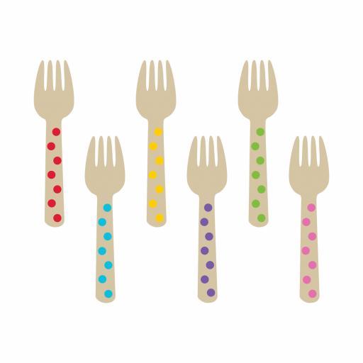 Rainbow Buffet Mini Wooden Forks 12pcs