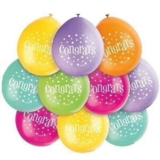 """Congrats Assorted Colour Latex Balloon 9"""""""
