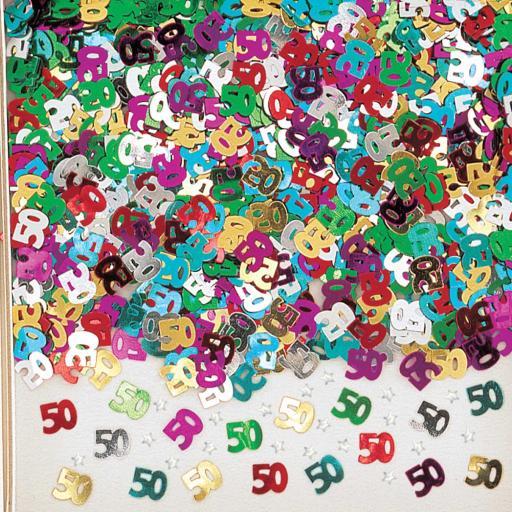 Number 50 Multi Colour Metallic Confetti 14g