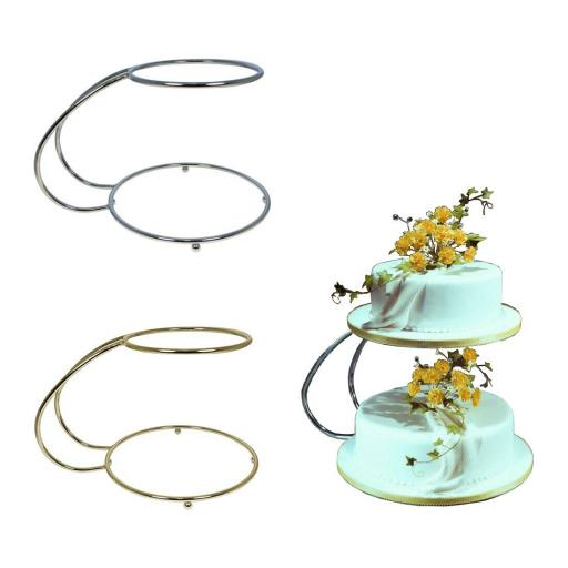 "PME "" C "" Shape Plated Metal 2 Tier Cake Stand"