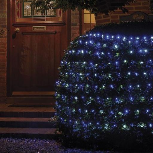 180 Net Blue and White Multi Action LED Lights 1.75m x 1.2m