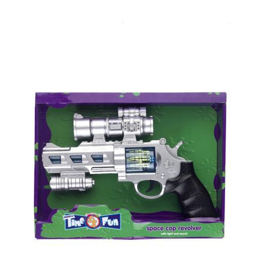 Silver Space Cop Revolver 25cm