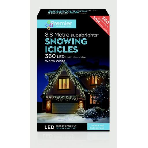 360 LED Snowing Icicles Warm White With Clear Cable 8.8 Meter
