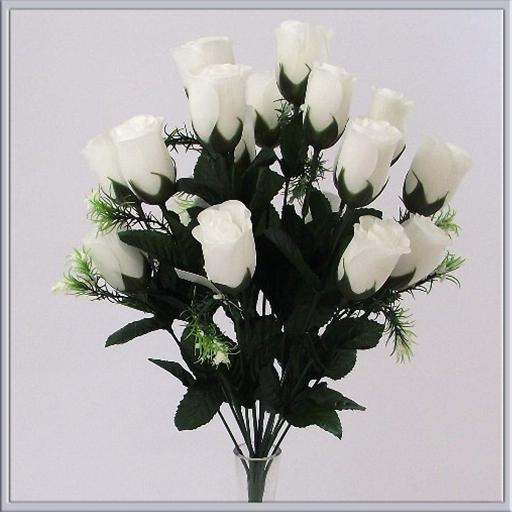 7 Head White Rose Buds Artificial Flower Bush Weddings/Graves/Parties Decoration