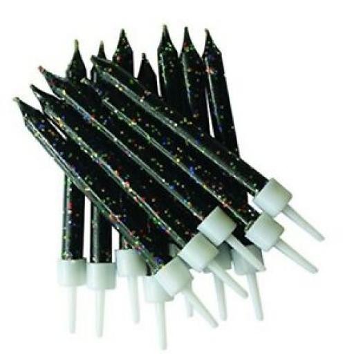 Glitter Black Candles Pack of 12