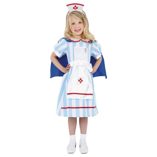 Blue Vintage Nurse Children Costume Age 7-9