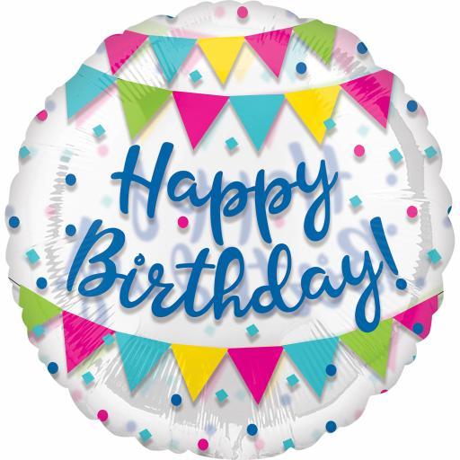 "Happy Birthday Streamer Fun Jumbo Foil Balloons 28"""