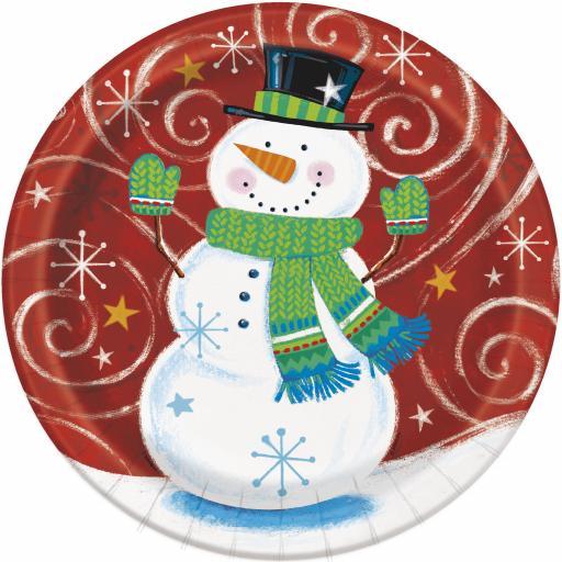 8 Snowman Paper Party Plates