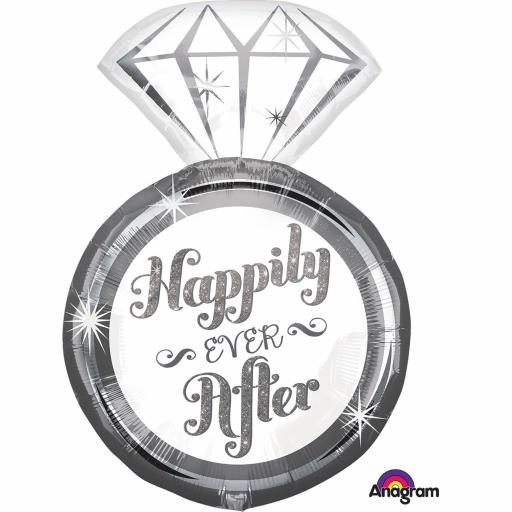 Happily Ever After Ring Super Shape Foil Balloons 18""