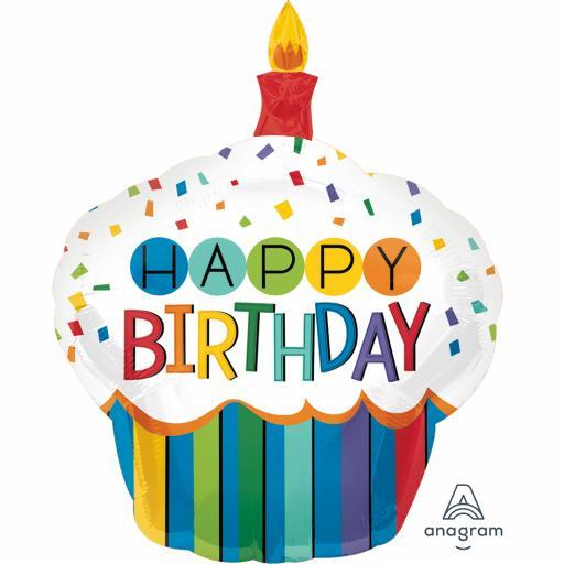 "Rainbow Birthday Cupcake Super Shape Foil Balloons 29"""