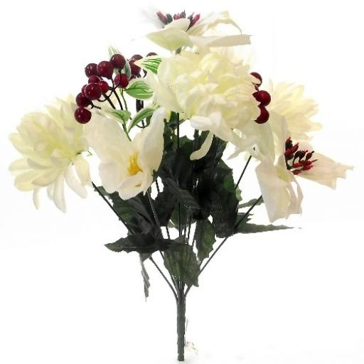 40cm Poinsettia Mum And Xmas Rose Mixed Bush With Red Berries Ivory/Cream