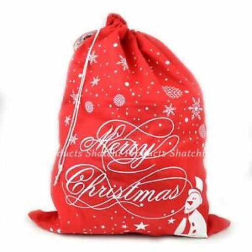 Christmas Santa Sack Stocking Sock Gifts Bag Xmas Accessory Snowman Snowflake