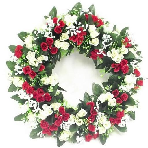 42cm Rosebud And Gyp Wreath Red And Ivory
