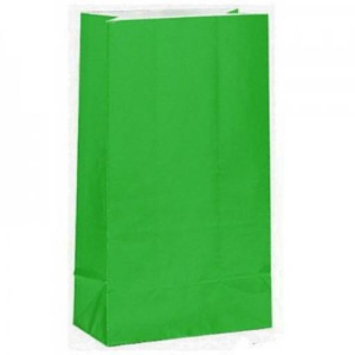 12 Green Paper Party Bags