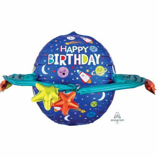 "Happy Birthday Galaxy Ultra Shape Foil Balloons 29"""
