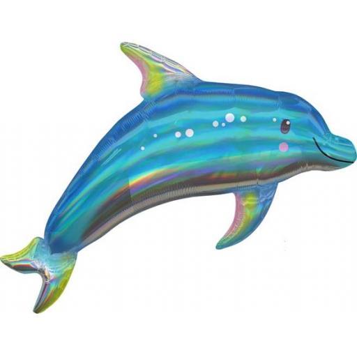Iridescent Blue Dolphin Shape
