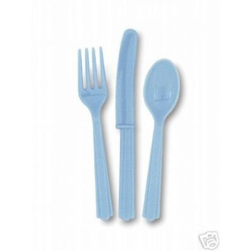Powder Blue Plastic Cutlery