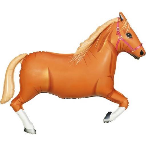 "Light Brown Horse Foil Shape Balloon 43"""