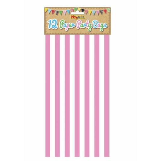 12 Pink Stripe Paper Bags